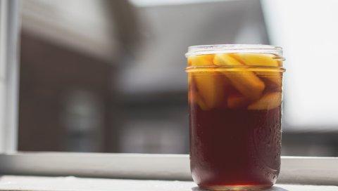 Напиток, фрукты, холод, стекло, капли