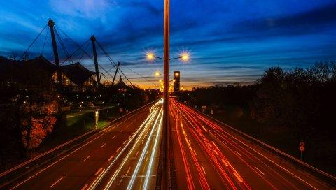 Дорога, трафик, свет, ночь