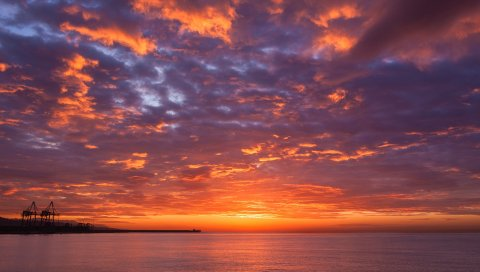 Закат, море, небо, горизонт