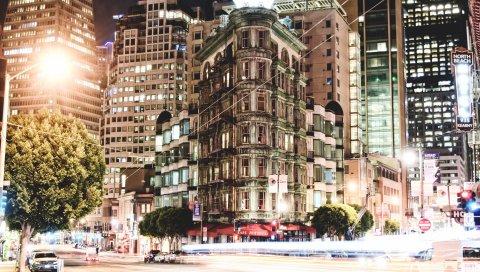 Здание, город, свет, архитектура