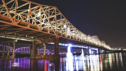 Большой мост, Луисвилл, США, ночь