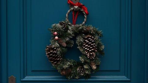 Венок, цветы, украшения, рождество