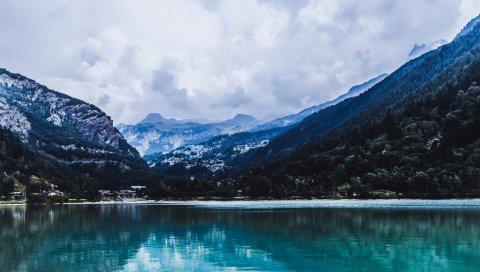 Озеро, горы, отражение
