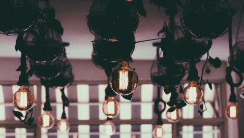 Лампы, свет, стекло, освещение