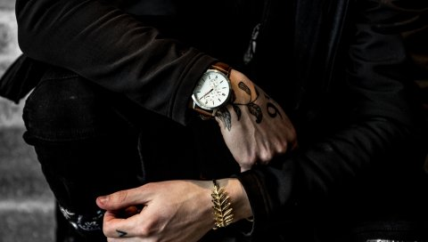 Наручные часы, рука, тату, браслет, аксессуар