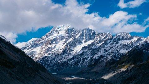 Горы, Новая Зеландия, Небо, Облака