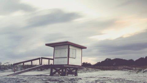 Пляж, здание, песок