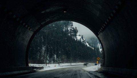 Туннель, дорога, снег, зима