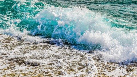 Океан, берег, пена, спрей