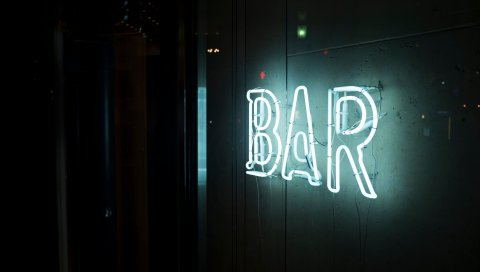 Надпись, бар, стена, свет