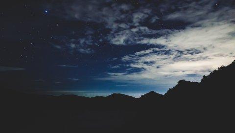 Звезды, ночь, небо, горы