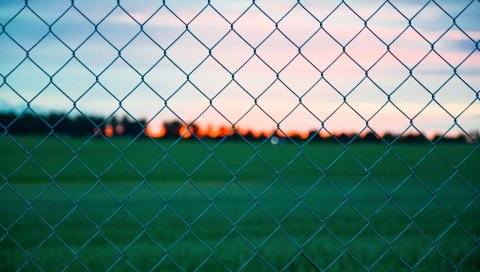 Забор, проволочная сетка, забор, трава