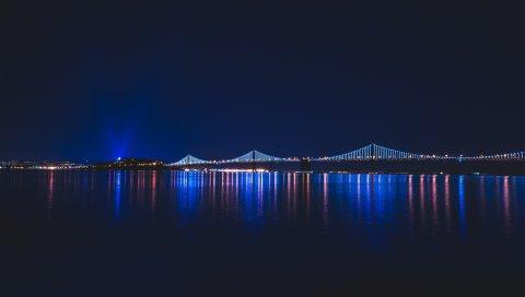 Мост, ночь, город, река
