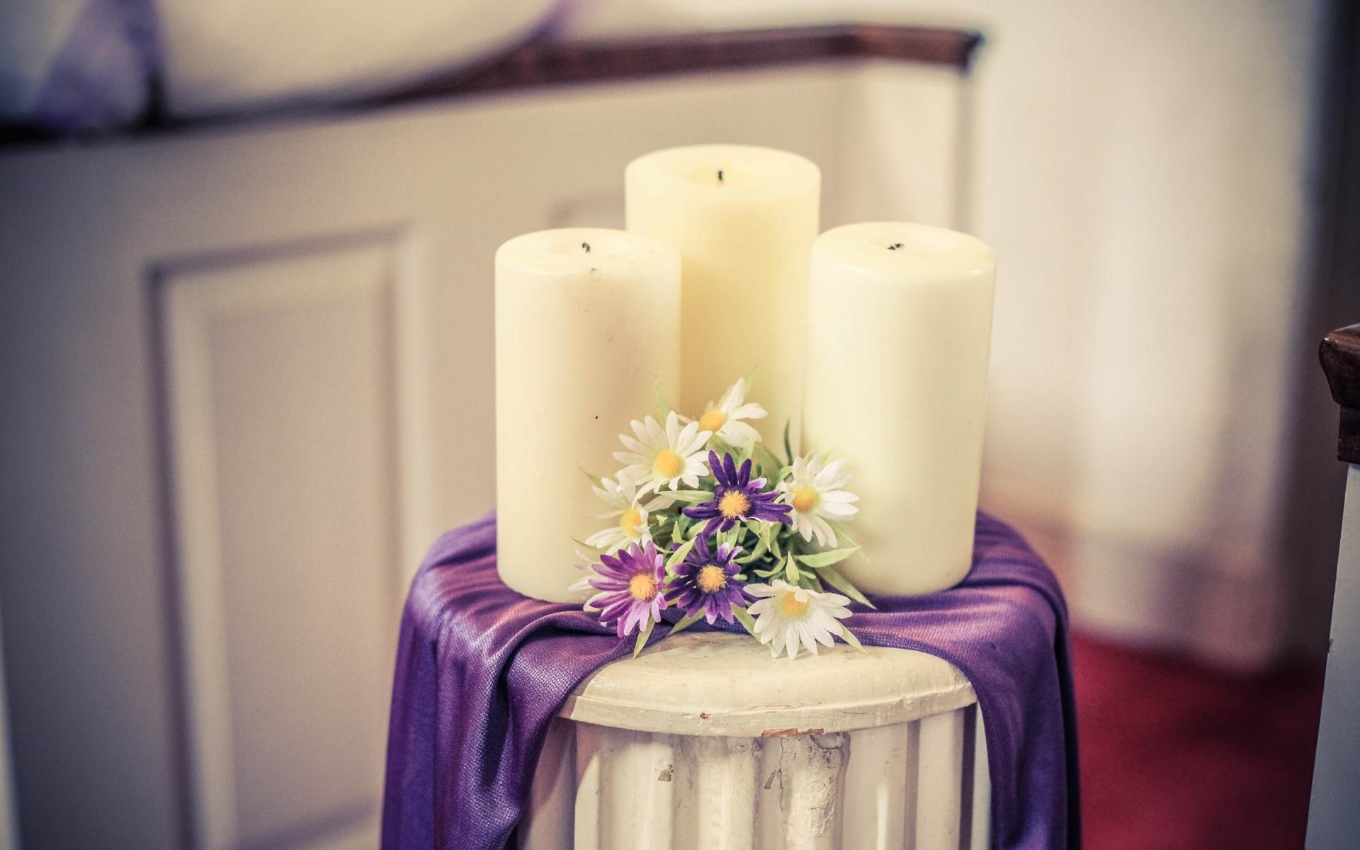 Картинки Свечи, композиция, цветы фото и обои на рабочий стол