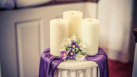Свечи, композиция, цветы
