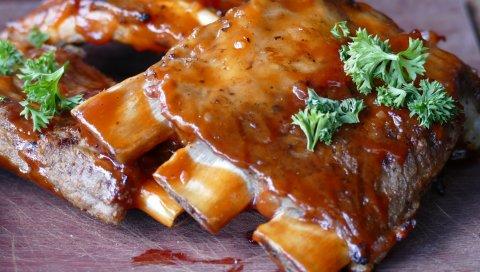 Ребра, барбекю, соус, мясо