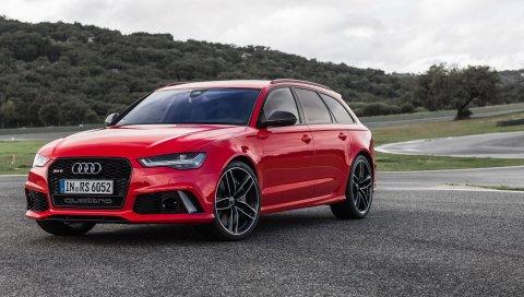 Audi, avant, rs6, вид сбоку, красный