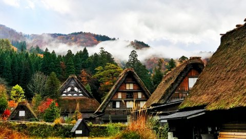 Япония, Ширакава, дома, горы, деревья