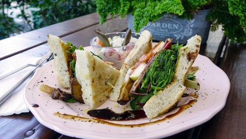Сэндвич, хлеб, мясо, овощи, аппетитные