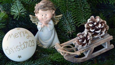 Рождественские игрушки, ангел, рождество, ель, мяч