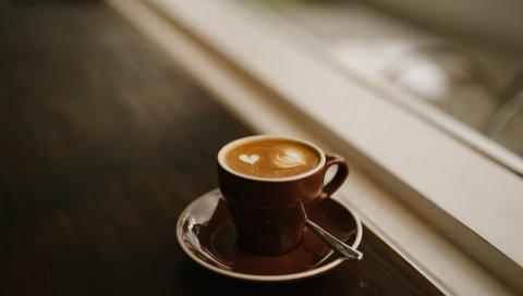 Кофе, эспрессо, капучино, чашка, пена