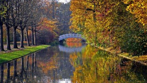 Осень, мост, река, парк, деревья, отражение