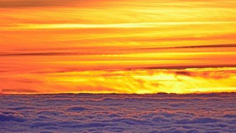 Закат, облака, сумерки, небо