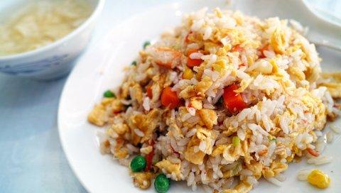 Рис, еда, овощи, ужин