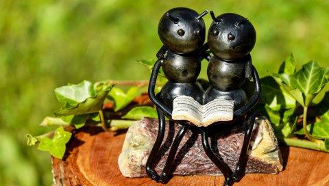 Муравьи, насекомые, скульптура, скамейка, пара, книга