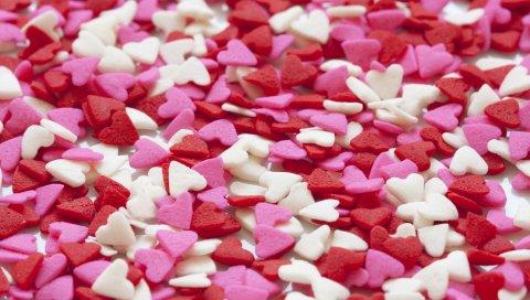 Сердце, набор, красный, белый, розовый