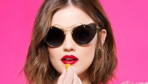 Lucy hale, актриса, лицо, очки, помада