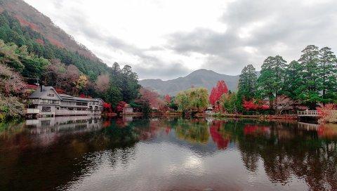 Озеро, деревья, горы, дома