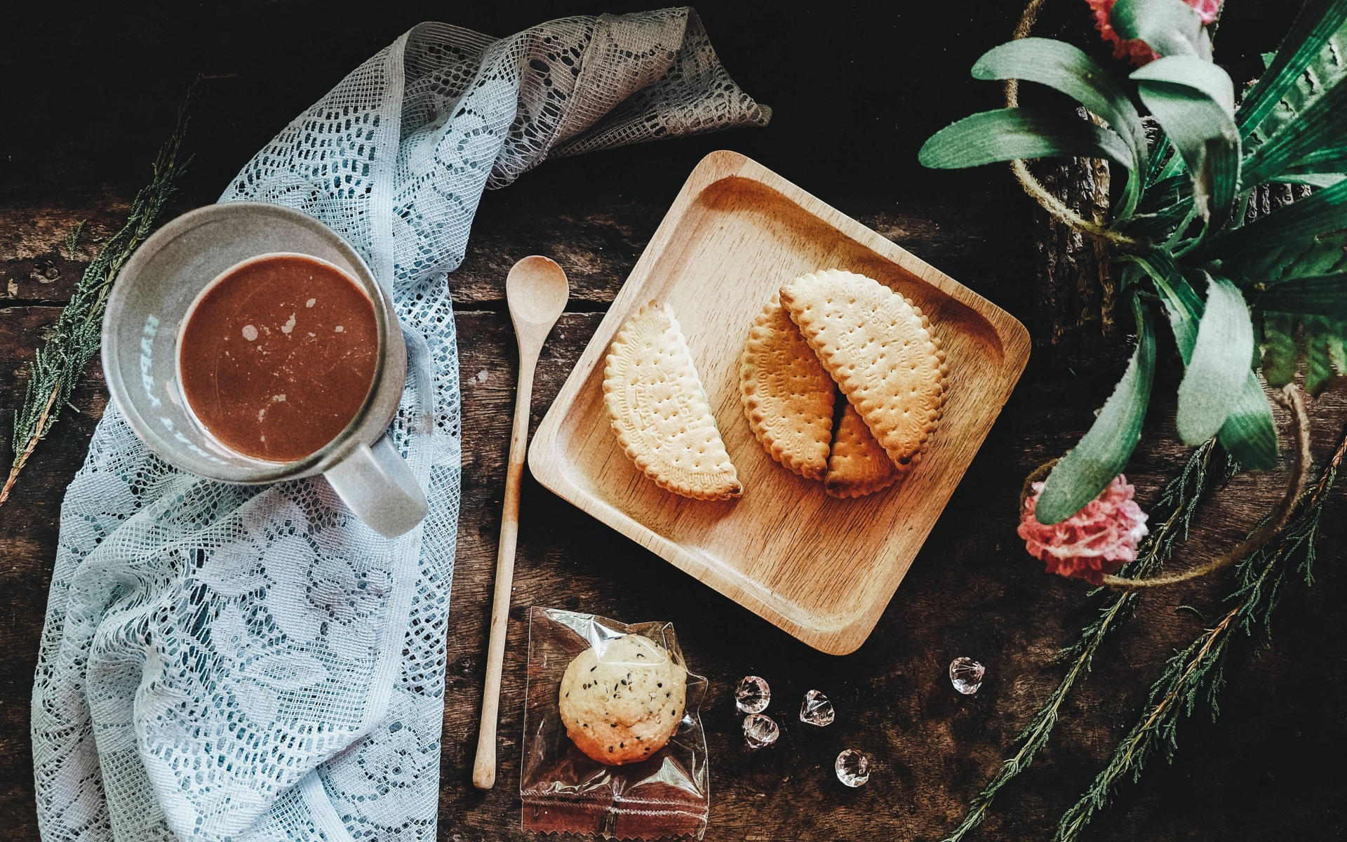 Картинки Печенье, напиток, натюрморт фото и обои на рабочий стол
