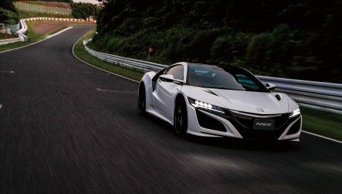 Honda, nsx, движение, вид сбоку
