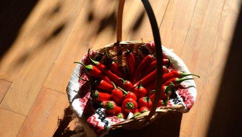 Чили, перец, корзина, тень