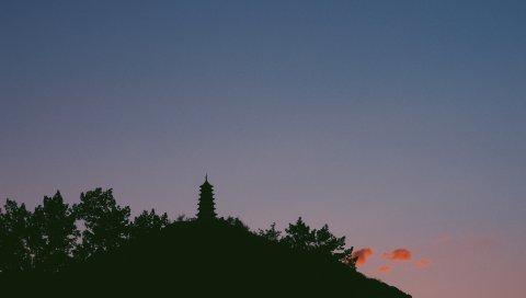 Храм, башня, небо, силуэт