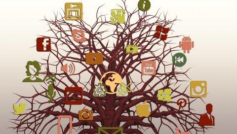 Социальные сети, дерево, логотипы