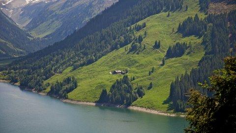 Долину, горы, озеро, красивый пейзаж