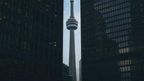Телевизионная башня, небоскребы, здания, архитектура