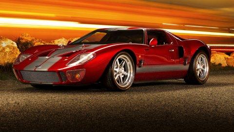 Ford, gt40, суперкар, красный, вид сбоку