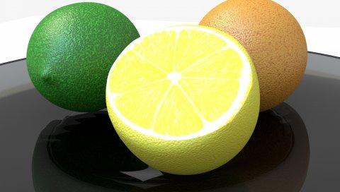 Лимон, лимон, апельсин, цитрусовые, 3d