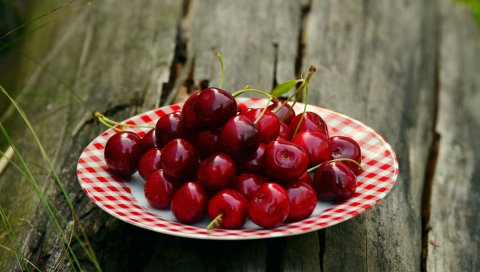 Вишня, тарелка, ягода, спелые