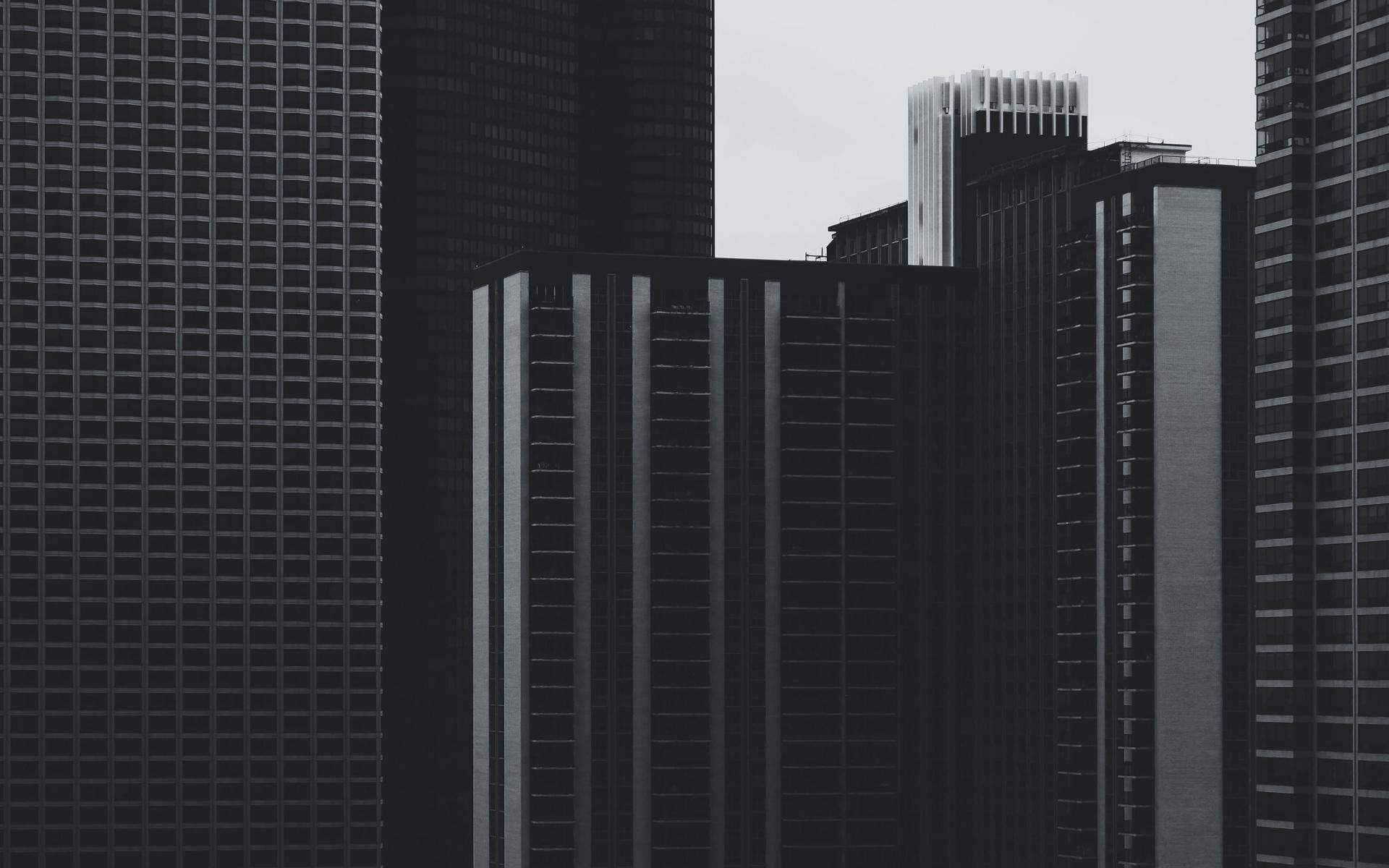 Картинки Небоскребы, здания, высотные, bw фото и обои на рабочий стол