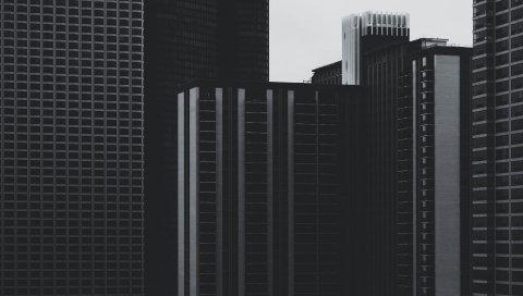 Небоскребы, здания, высотные, bw