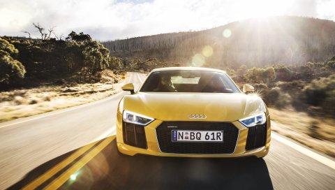 Audi, r8, v10, желтый, вид спереди