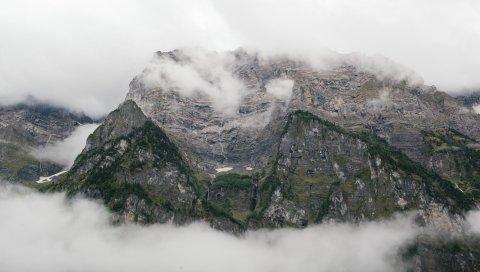 Скалы, горы, туман, вершины