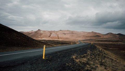 Дорога, асфальт, горы, маркировка