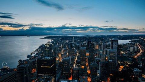 Город, ночь, небоскребы, вид сверху