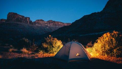 Палатка, кемпинг, горы, закат