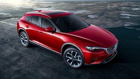 Mazda, cx-4, красный, вид сбоку